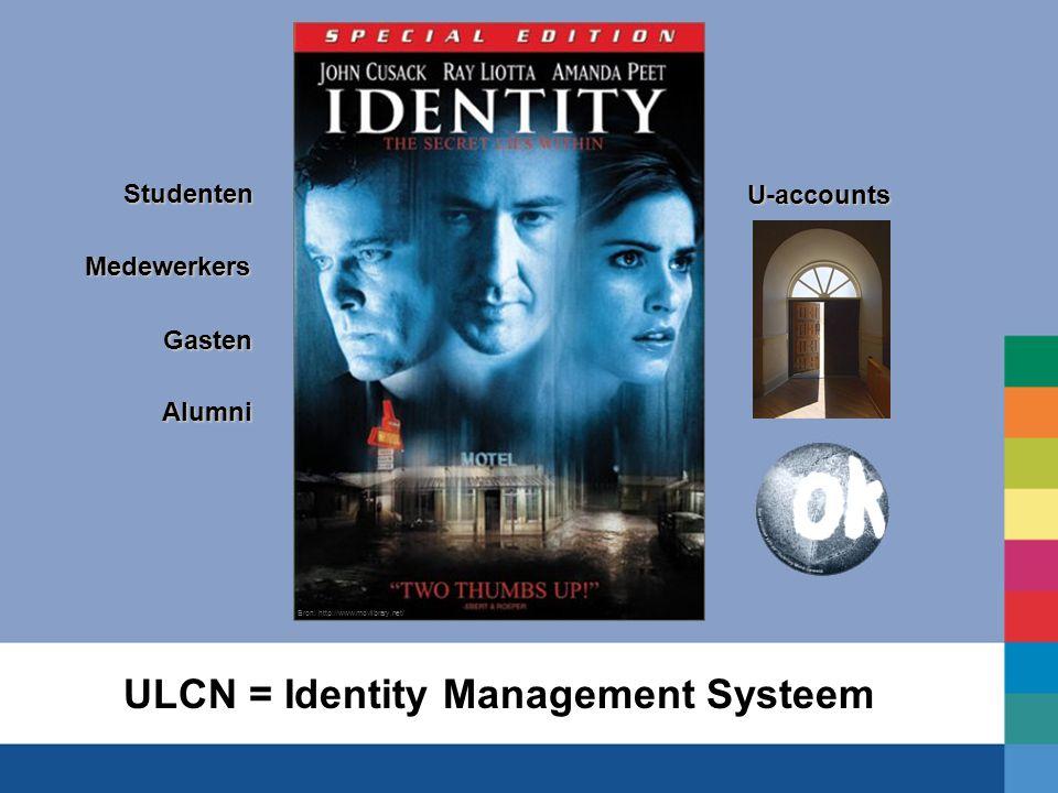 ULCN = Identity Management SysteemStudentenMedewerkers Gasten Alumni U-accounts Bron: http://www.movlibrary.net/