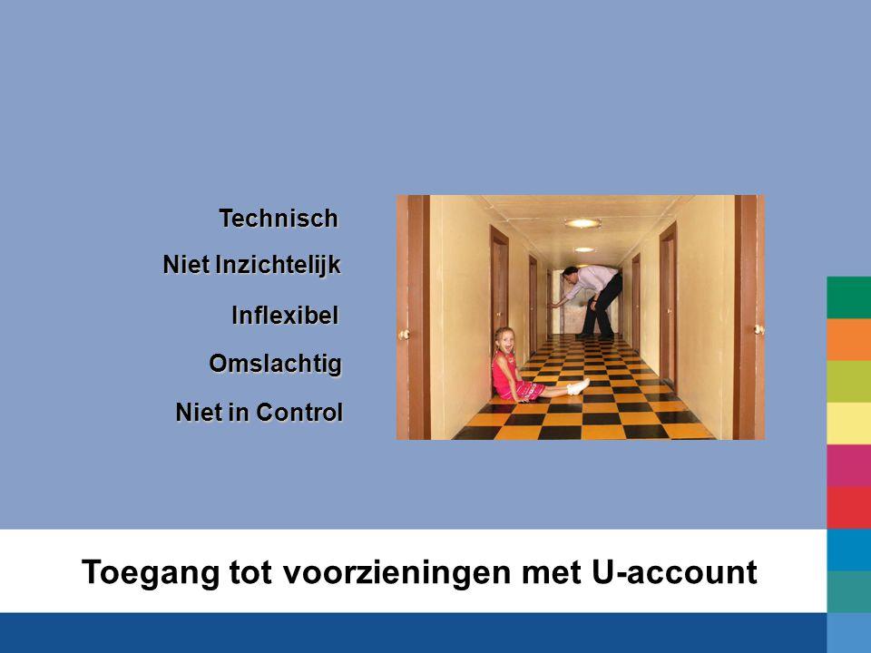 Toegang tot voorzieningen met U-accountTechnischInflexibel Niet Inzichtelijk Omslachtig Niet in Control