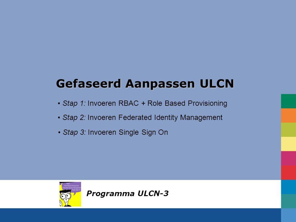 Gefaseerd Aanpassen ULCN Stap 1: Invoeren RBAC + Role Based Provisioning Stap 2: Invoeren Federated Identity Management Stap 3: Invoeren Single Sign On Programma ULCN-3