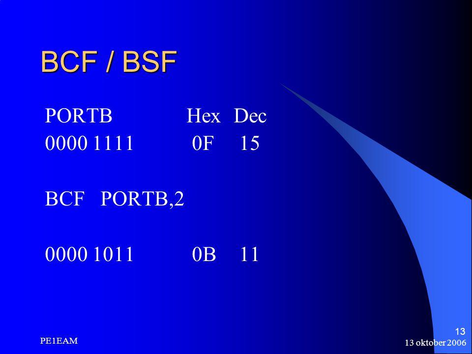 13 oktober 2006 PE1EAM 13 BCF / BSF PORTBHexDec 0000 1111 0F 15 BCF PORTB,2 0000 1011 0B 11
