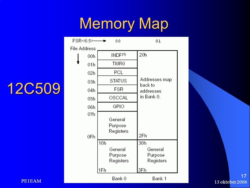 13 oktober 2006 PE1EAM 17 Memory Map 12C509