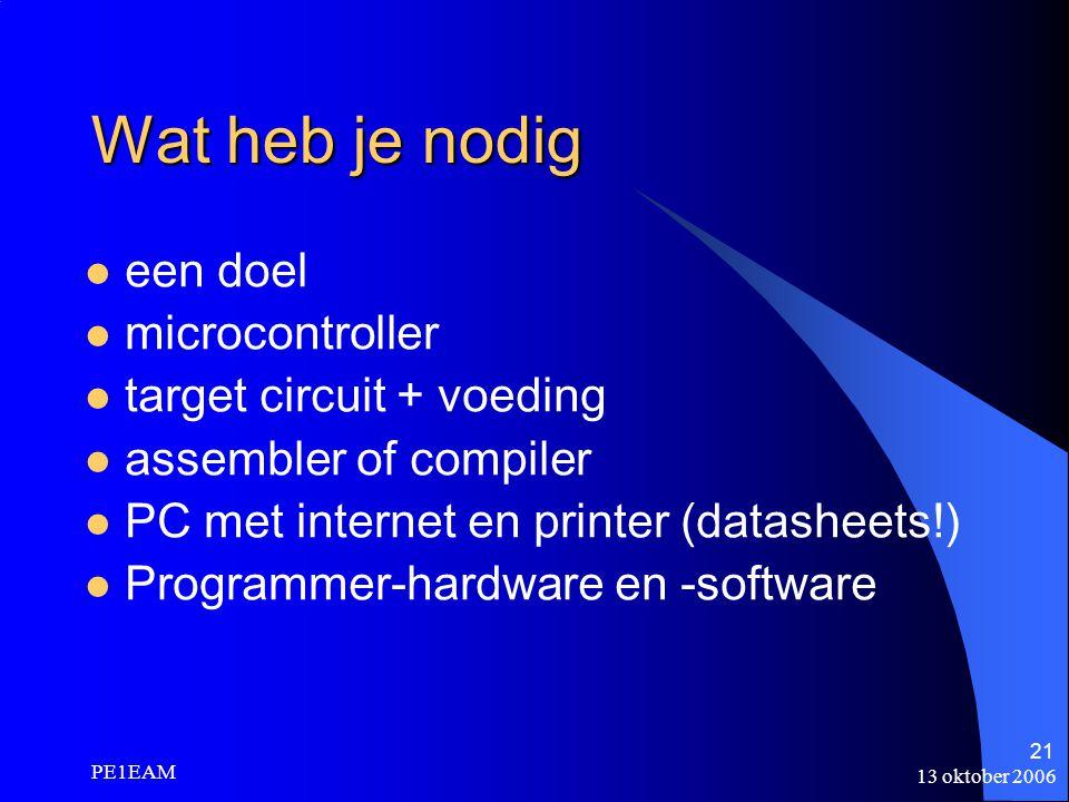 13 oktober 2006 PE1EAM 21 een doel microcontroller target circuit + voeding assembler of compiler PC met internet en printer (datasheets!) Programmer-
