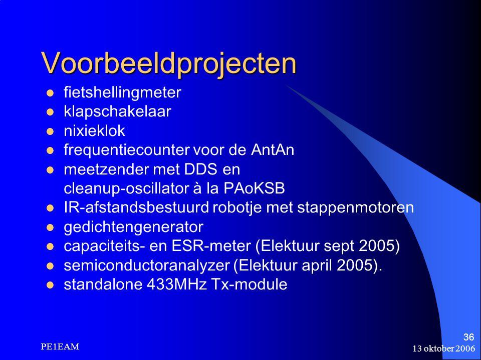 13 oktober 2006 PE1EAM 36 Voorbeeldprojecten fietshellingmeter klapschakelaar nixieklok frequentiecounter voor de AntAn meetzender met DDS en cleanup-