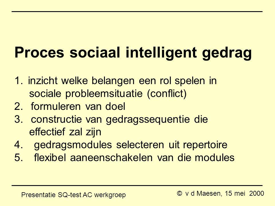 © v d Maesen, 15 mei 2000 Presentatie SQ-test AC werkgroep Proces sociaal intelligent gedrag 1.inzicht welke belangen een rol spelen in sociale probleemsituatie (conflict) 2.