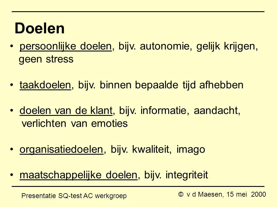 © v d Maesen, 15 mei 2000 Presentatie SQ-test AC werkgroep Doelen persoonlijke doelen, bijv.