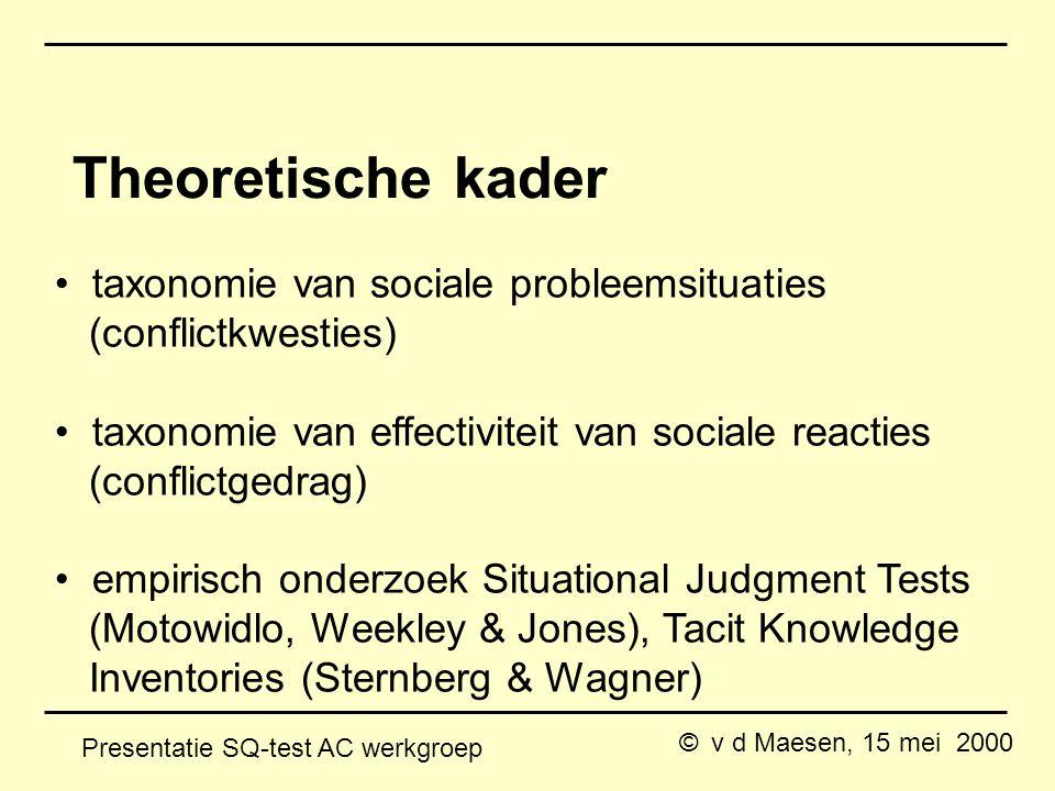 © v d Maesen, 15 mei 2000 Presentatie SQ-test AC werkgroep Theoretische kader taxonomie van sociale probleemsituaties (conflictkwesties) taxonomie van effectiviteit van sociale reacties (conflictgedrag) empirisch onderzoek Situational Judgment Tests (Motowidlo, Weekley & Jones), Tacit Knowledge Inventories (Sternberg & Wagner)