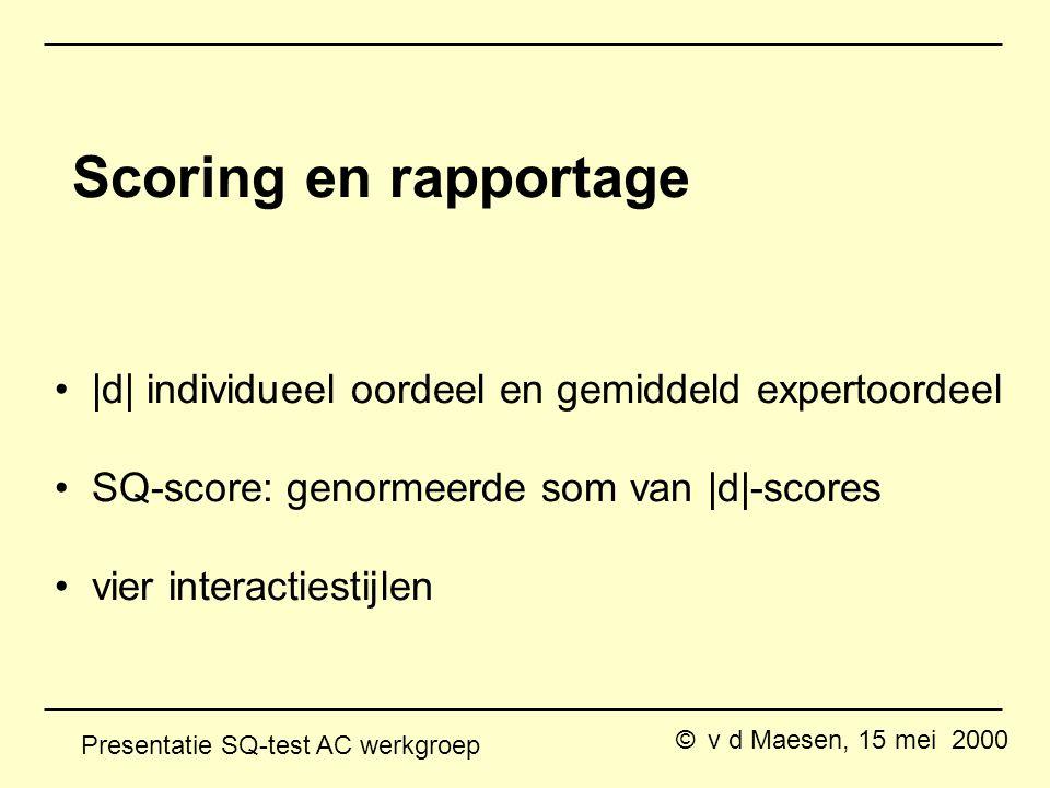 © v d Maesen, 15 mei 2000 Presentatie SQ-test AC werkgroep Scoring en rapportage |d| individueel oordeel en gemiddeld expertoordeel SQ-score: genormeerde som van |d|-scores vier interactiestijlen