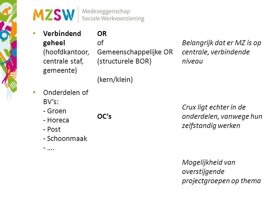 Verbindend geheel (hoofdkantoor, centrale staf, gemeente) Onderdelen of BV's: - Groen - Horeca - Post - Schoonmaak - ….