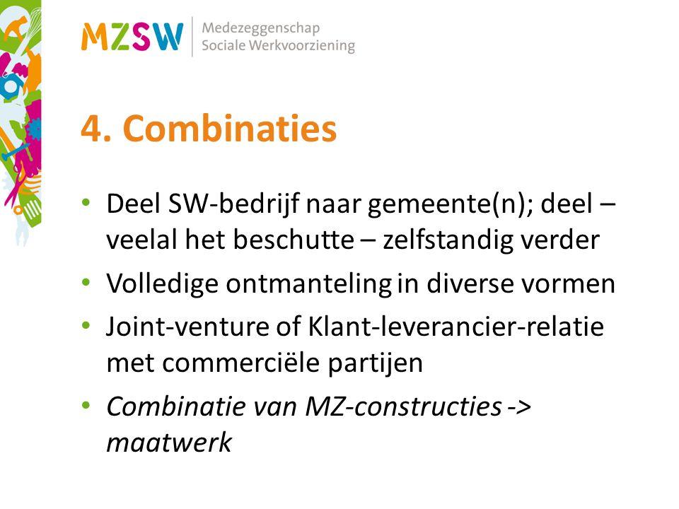 4. Combinaties Deel SW-bedrijf naar gemeente(n); deel – veelal het beschutte – zelfstandig verder Volledige ontmanteling in diverse vormen Joint-ventu