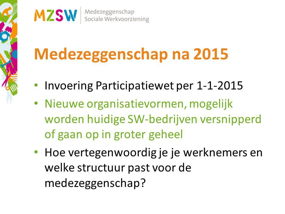 Medezeggenschap na 2015 Invoering Participatiewet per 1-1-2015 Nieuwe organisatievormen, mogelijk worden huidige SW-bedrijven versnipperd of gaan op in groter geheel Hoe vertegenwoordig je je werknemers en welke structuur past voor de medezeggenschap?