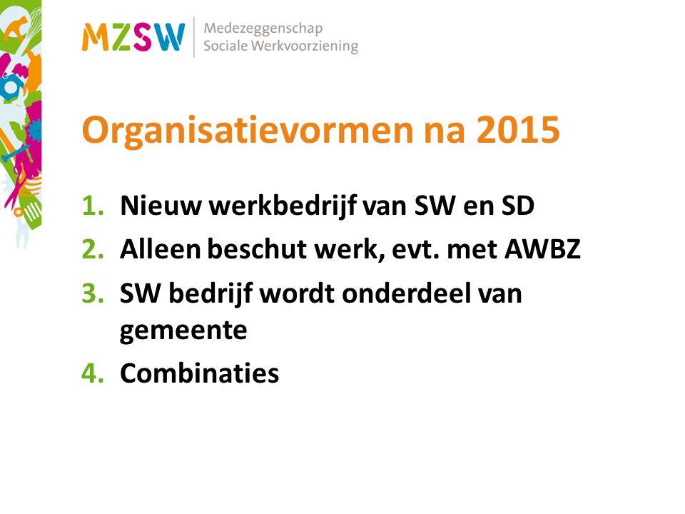 Organisatievormen na 2015 1.Nieuw werkbedrijf van SW en SD 2.Alleen beschut werk, evt.