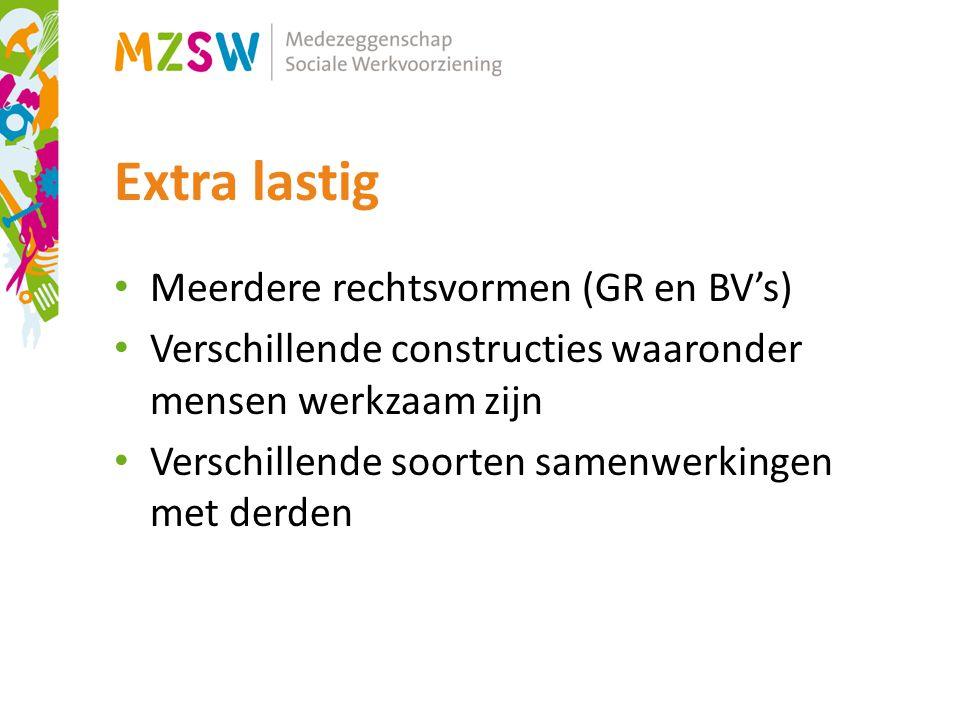 Extra lastig Meerdere rechtsvormen (GR en BV's) Verschillende constructies waaronder mensen werkzaam zijn Verschillende soorten samenwerkingen met derden