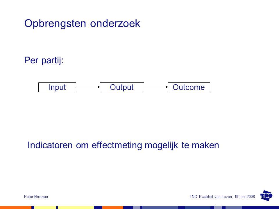 TNO Kwaliteit van Leven, 19 juni 2008Peter Brouwer Opbrengsten onderzoek Per partij: InputOutputOutcome Indicatoren om effectmeting mogelijk te maken