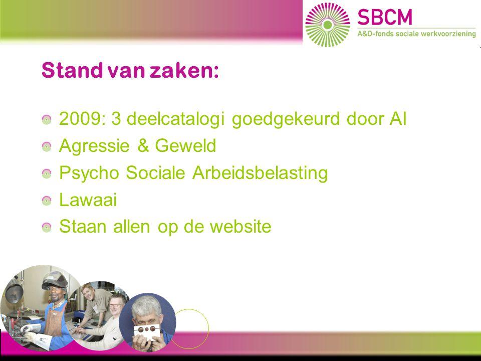 Stand van zaken: 2009: 3 deelcatalogi goedgekeurd door AI Agressie & Geweld Psycho Sociale Arbeidsbelasting Lawaai Staan allen op de website
