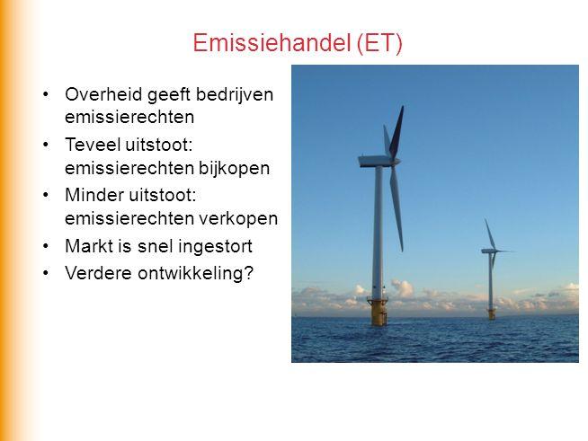 Overheid geeft bedrijven emissierechten Teveel uitstoot: emissierechten bijkopen Minder uitstoot: emissierechten verkopen Markt is snel ingestort Verdere ontwikkeling.