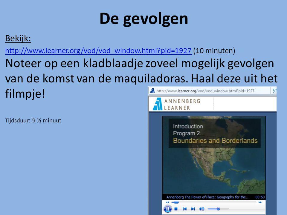 De gevolgen Bekijk: http://www.learner.org/vod/vod_window.html?pid=1927http://www.learner.org/vod/vod_window.html?pid=1927 (10 minuten) Noteer op een