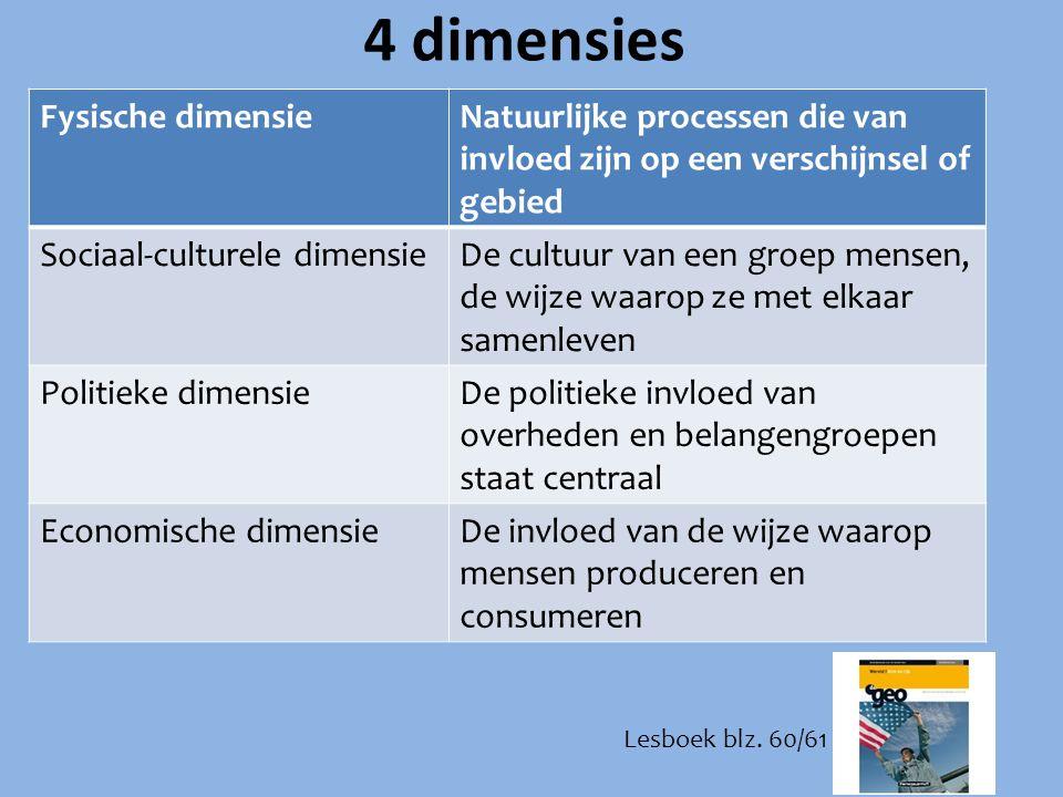 4 dimensies Fysische dimensieNatuurlijke processen die van invloed zijn op een verschijnsel of gebied Sociaal-culturele dimensieDe cultuur van een gro