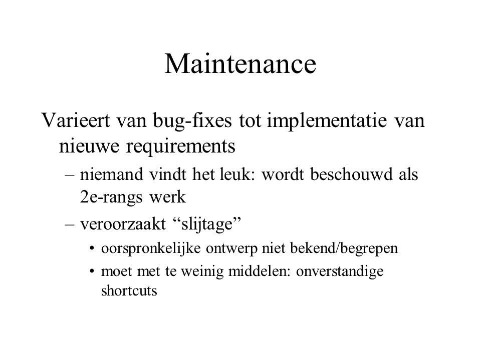 Maintenance Varieert van bug-fixes tot implementatie van nieuwe requirements –niemand vindt het leuk: wordt beschouwd als 2e-rangs werk –veroorzaakt slijtage oorspronkelijke ontwerp niet bekend/begrepen moet met te weinig middelen: onverstandige shortcuts