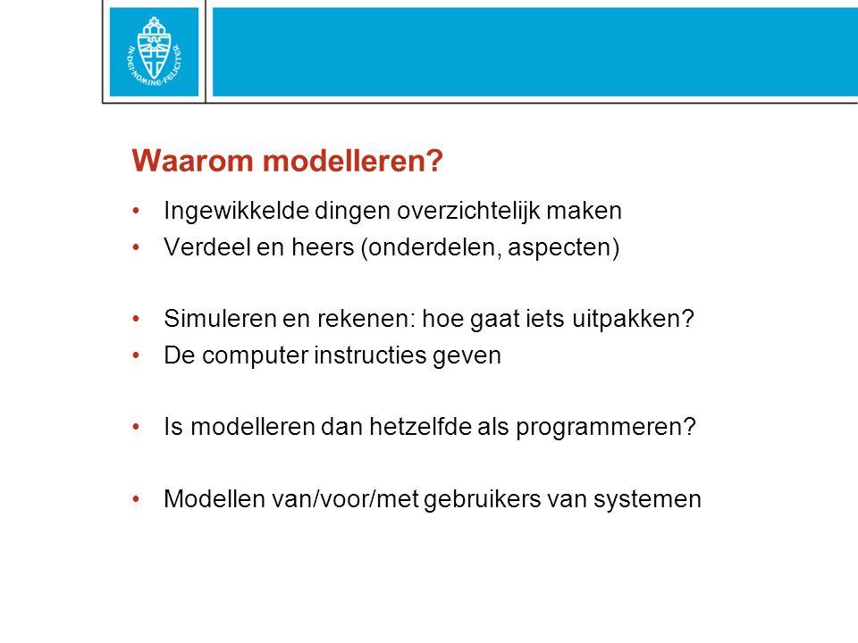 Procesmodelleren Een veelvoorkomend soort model Basismodel voor veel doeleinden Activiteiten volgens plan: bestaand of toekomstig Flow : eerst dit en dan dat en dan dat...
