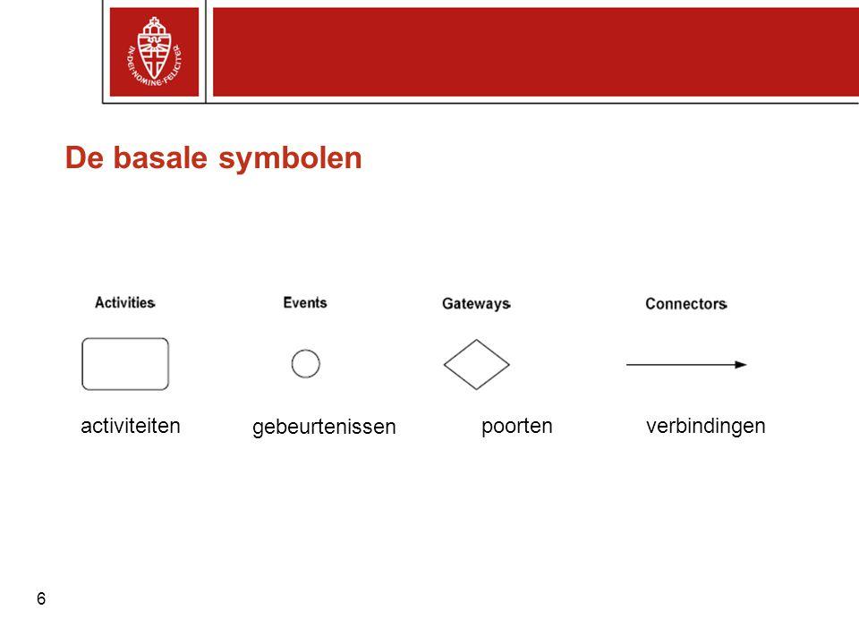 6 De basale symbolen activiteiten gebeurtenissen poortenverbindingen