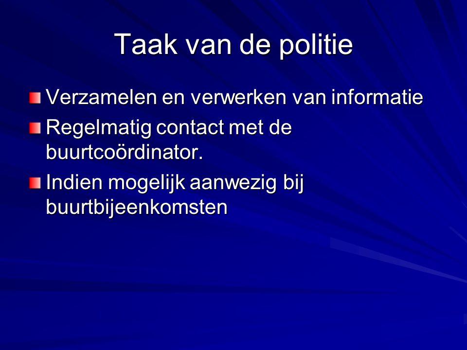 Taak van de politie Verzamelen en verwerken van informatie Regelmatig contact met de buurtcoördinator. Indien mogelijk aanwezig bij buurtbijeenkomsten