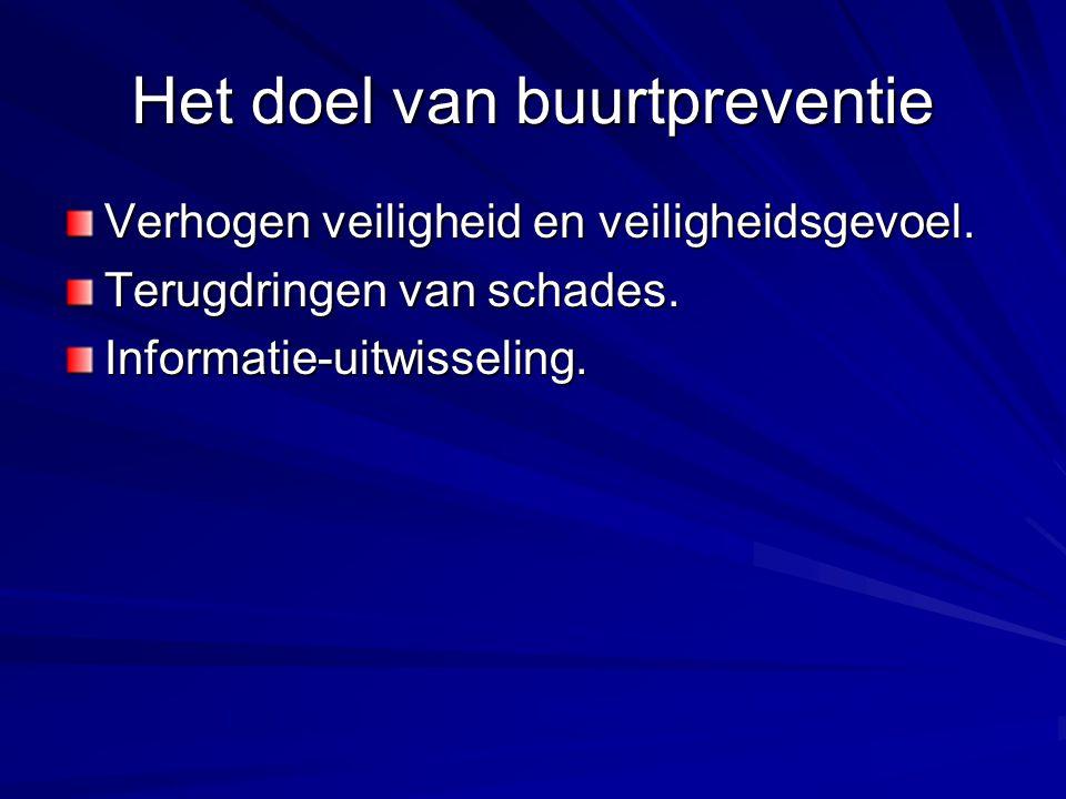 Het doel van buurtpreventie Verhogen veiligheid en veiligheidsgevoel. Terugdringen van schades. Informatie-uitwisseling.