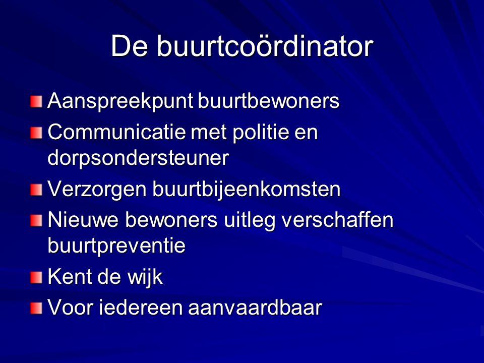 Taak van de politie Verzamelen en verwerken van informatie Regelmatig contact met de buurtcoördinator.