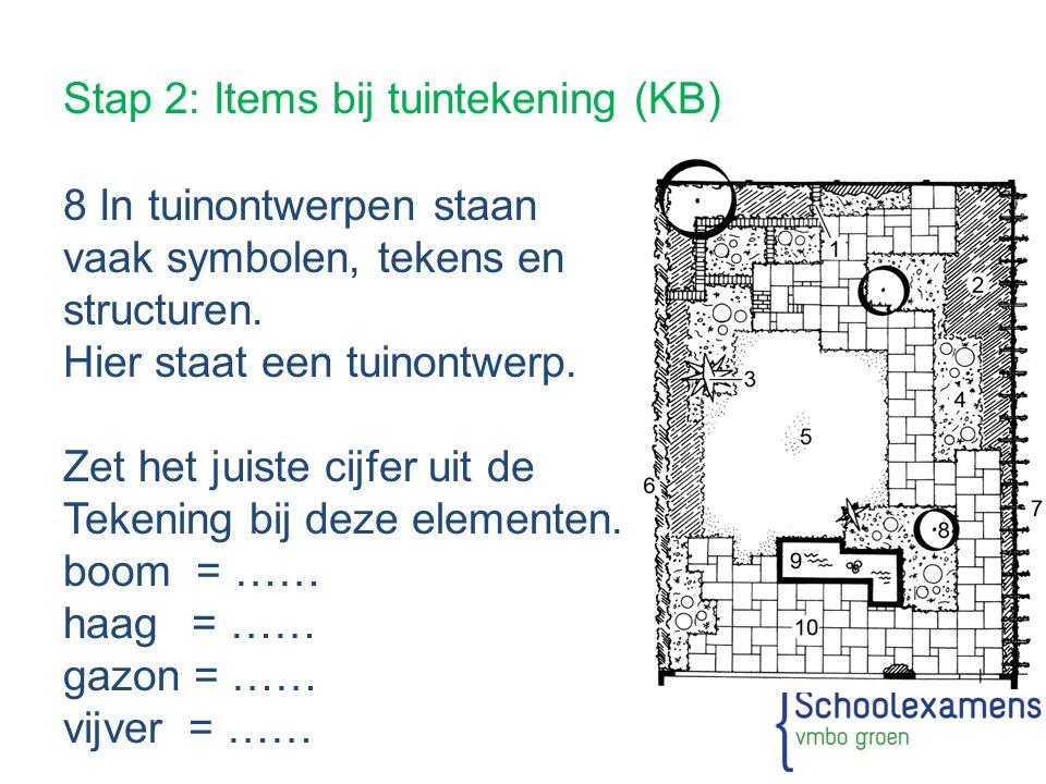 Stap 2: Items bij tuintekening (KB) 8 In tuinontwerpen staan vaak symbolen, tekens en structuren. Hier staat een tuinontwerp. Zet het juiste cijfer ui