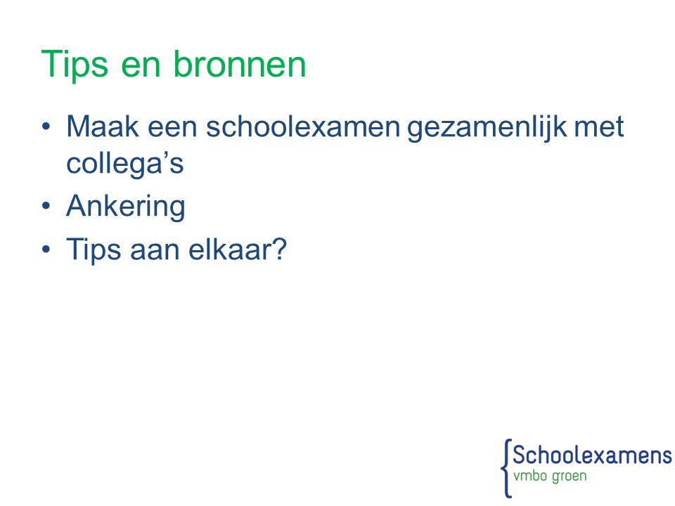 Tips en bronnen Maak een schoolexamen gezamenlijk met collega's Ankering Tips aan elkaar?