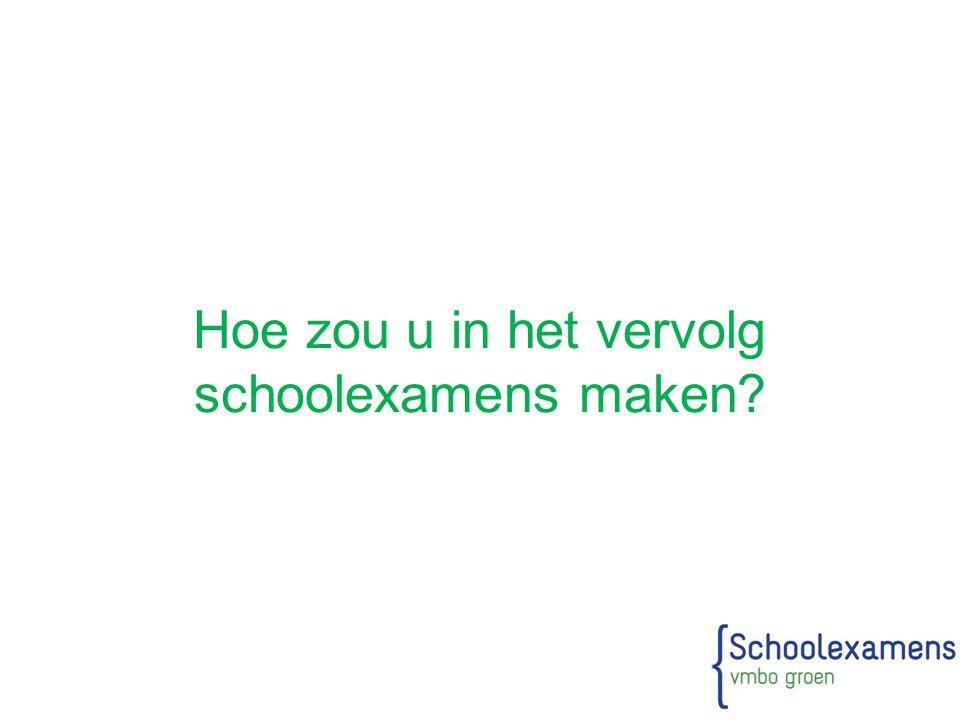 Hoe zou u in het vervolg schoolexamens maken?