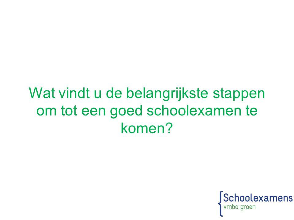 Wat vindt u de belangrijkste stappen om tot een goed schoolexamen te komen?