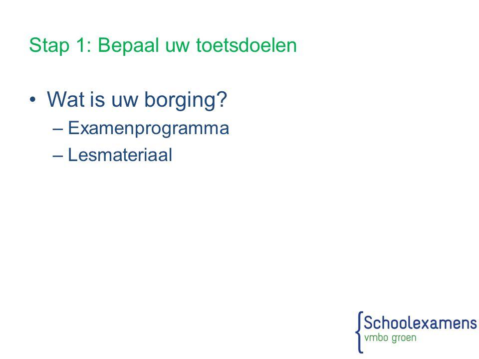 Stap 1: Bepaal uw toetsdoelen Wat is uw borging? –Examenprogramma –Lesmateriaal