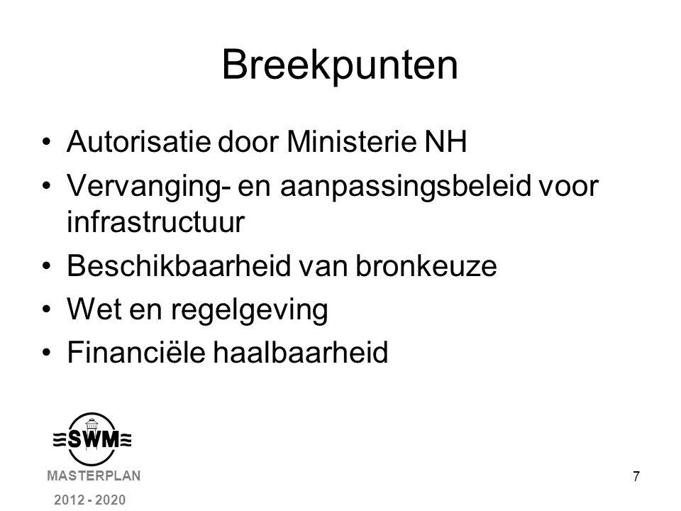 7 Breekpunten Autorisatie door Ministerie NH Vervanging- en aanpassingsbeleid voor infrastructuur Beschikbaarheid van bronkeuze Wet en regelgeving Financiële haalbaarheid MASTERPLAN 2012 - 2020