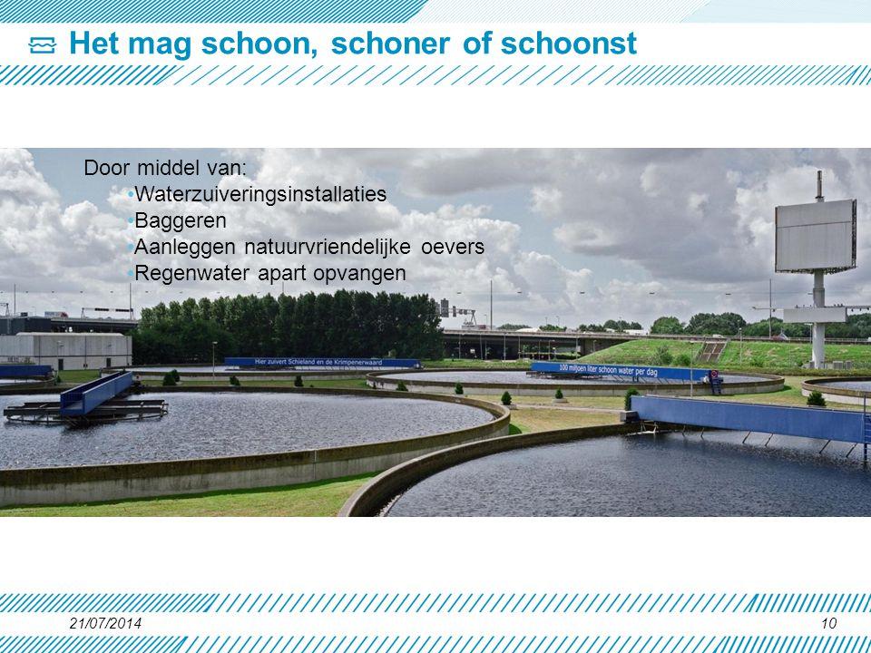 21/07/201410 Het mag schoon, schoner of schoonst Door middel van: Waterzuiveringsinstallaties Baggeren Aanleggen natuurvriendelijke oevers Regenwater