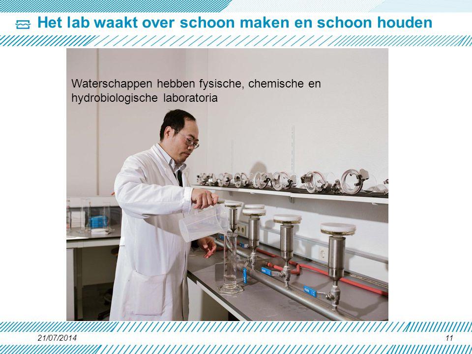Het lab waakt over schoon maken en schoon houden 21/07/201411 Waterschappen hebben fysische, chemische en hydrobiologische laboratoria