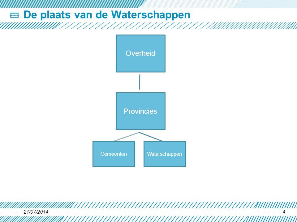 21/07/20144 De plaats van de Waterschappen Overheid Provincies WaterschappenGemeenten