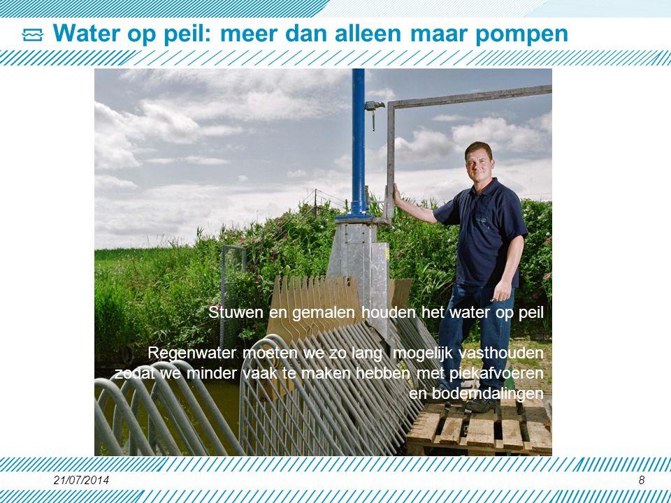 21/07/20148 Water op peil: meer dan alleen maar pompen Stuwen en gemalen houden het water op peil Regenwater moeten we zo lang mogelijk vasthouden zod