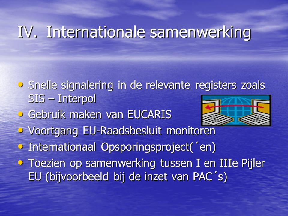 IV.Internationale samenwerking Snelle signalering in de relevante registers zoals SIS – Interpol Snelle signalering in de relevante registers zoals SIS – Interpol Gebruik maken van EUCARIS Gebruik maken van EUCARIS Voortgang EU-Raadsbesluit monitoren Voortgang EU-Raadsbesluit monitoren Internationaal Opsporingsproject(´en) Internationaal Opsporingsproject(´en) Toezien op samenwerking tussen I en IIIe Pijler EU (bijvoorbeeld bij de inzet van PAC´s) Toezien op samenwerking tussen I en IIIe Pijler EU (bijvoorbeeld bij de inzet van PAC´s)