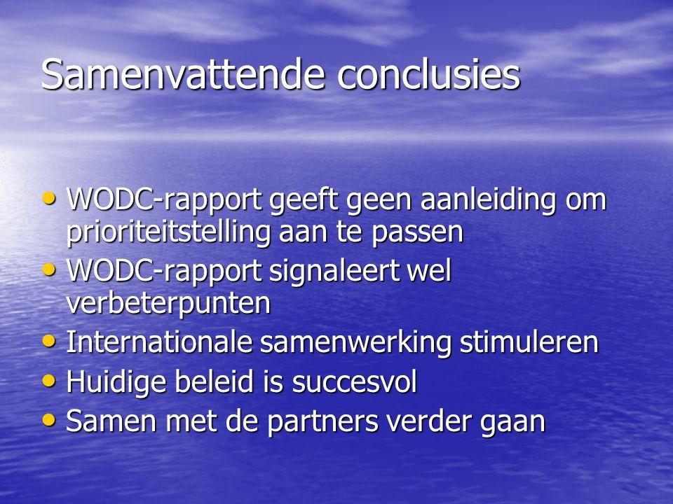 Samenvattende conclusies WODC-rapport geeft geen aanleiding om prioriteitstelling aan te passen WODC-rapport signaleert wel verbeterpunten Internationale samenwerking stimuleren Huidige beleid is succesvol Samen met de partners verder gaan