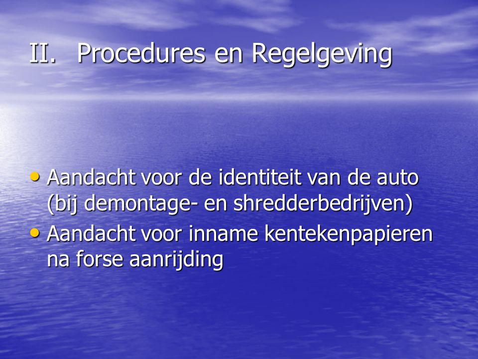 II.Procedures en Regelgeving Aandacht voor de identiteit van de auto (bij demontage- en shredderbedrijven) Aandacht voor de identiteit van de auto (bi