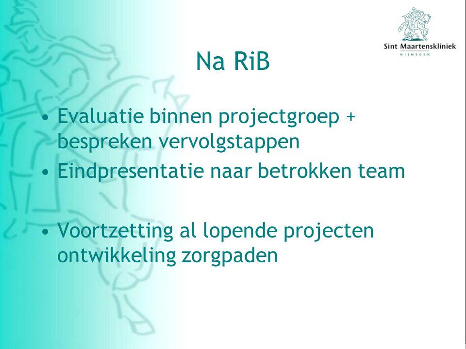 Na RiB Evaluatie binnen projectgroep + bespreken vervolgstappen Eindpresentatie naar betrokken team Voortzetting al lopende projecten ontwikkeling zorgpaden