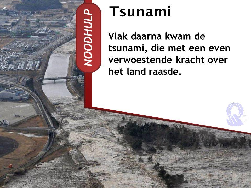 NOODHULP Tsunami Vlak daarna kwam de tsunami, die met een even verwoestende kracht over het land raasde.