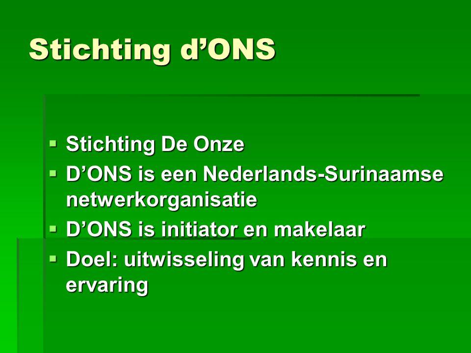 Stichting d'ONS  Stichting De Onze  D'ONS is een Nederlands-Surinaamse netwerkorganisatie  D'ONS is initiator en makelaar  Doel: uitwisseling van