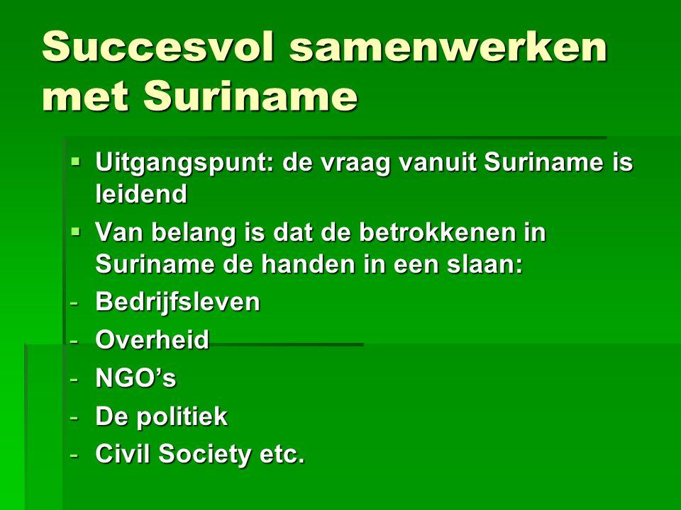 Succesvol samenwerken met Suriname  Uitgangspunt: de vraag vanuit Suriname is leidend  Van belang is dat de betrokkenen in Suriname de handen in een