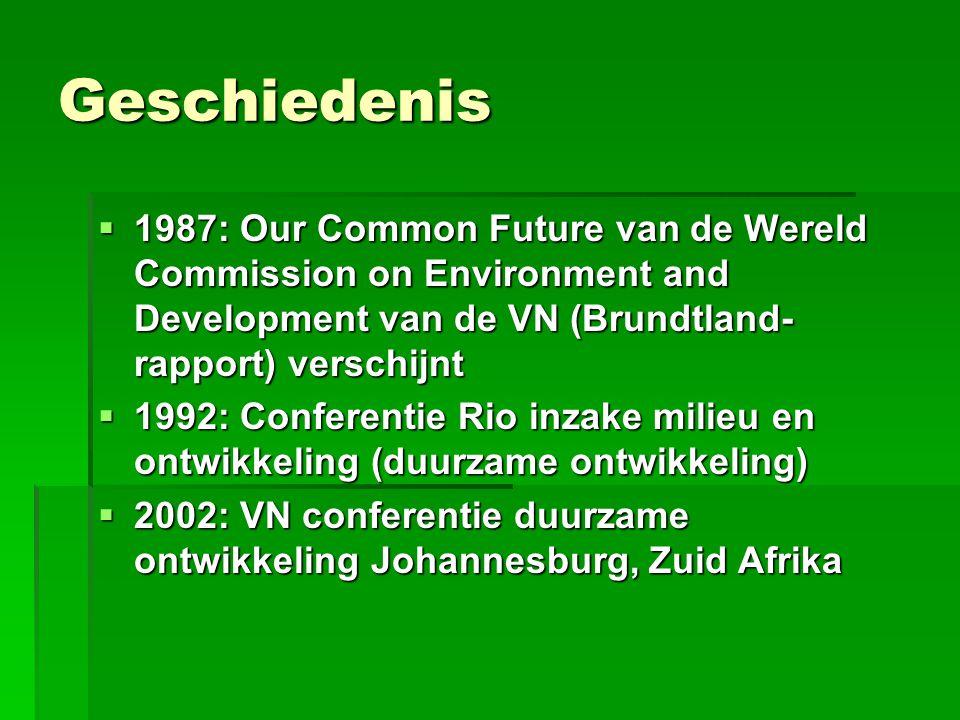 Geschiedenis  1987: Our Common Future van de Wereld Commission on Environment and Development van de VN (Brundtland- rapport) verschijnt  1992: Conf