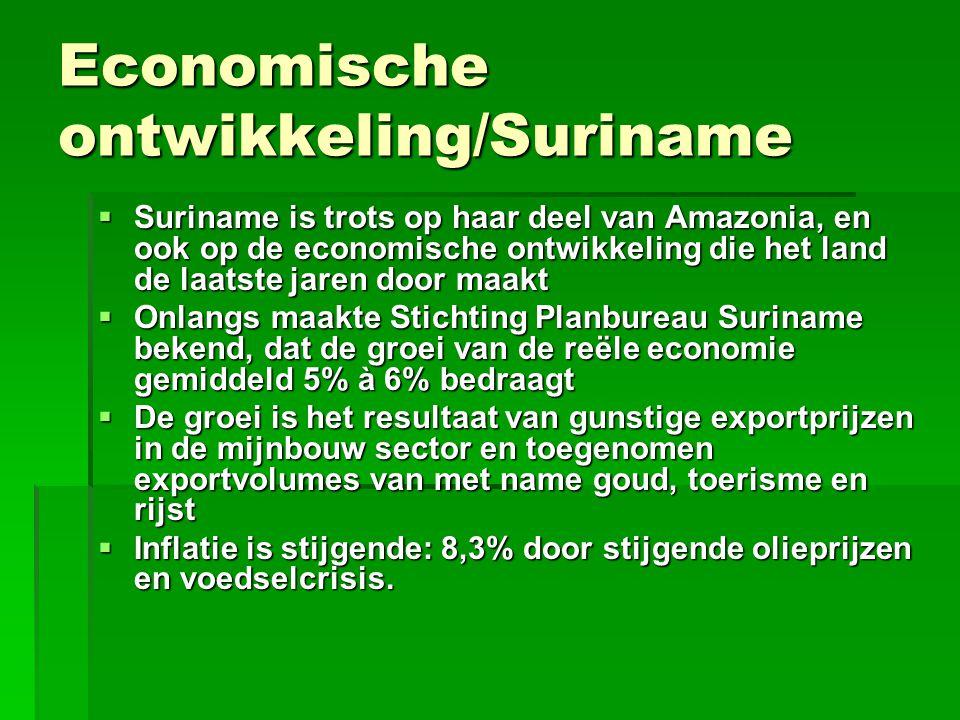 Economische ontwikkeling/Suriname  Suriname is trots op haar deel van Amazonia, en ook op de economische ontwikkeling die het land de laatste jaren d