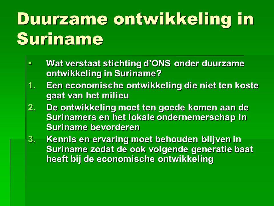 Duurzame ontwikkeling in Suriname  Wat verstaat stichting d'ONS onder duurzame ontwikkeling in Suriname? 1.Een economische ontwikkeling die niet ten