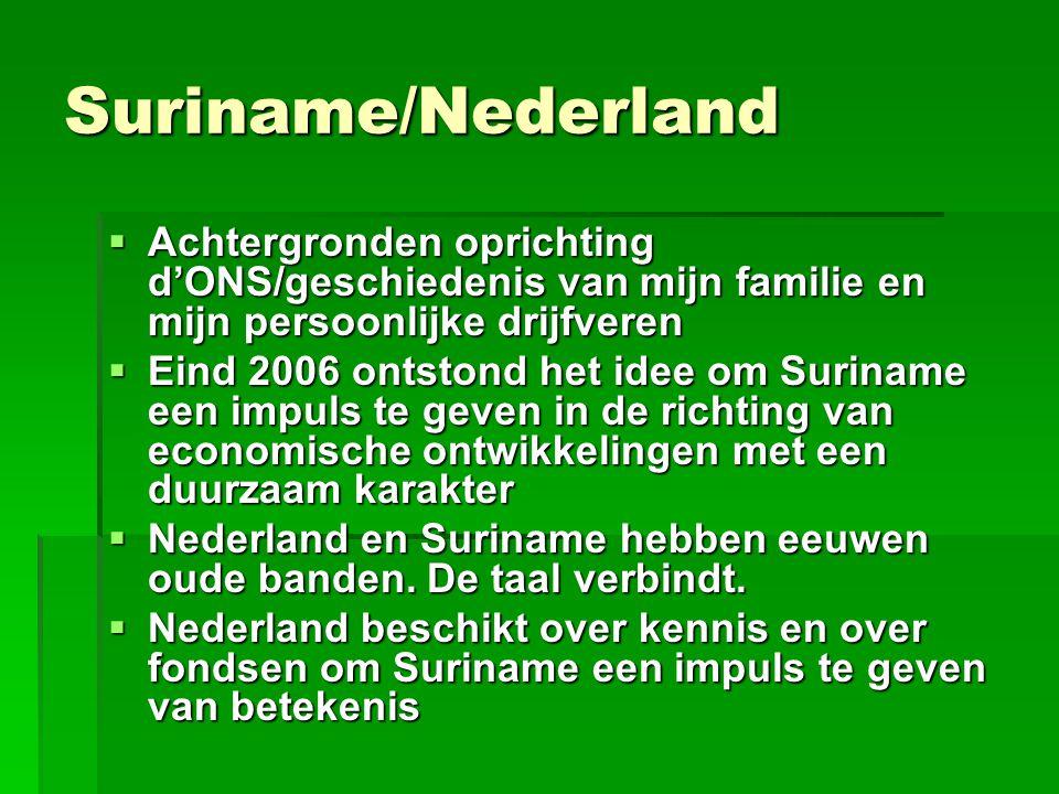 Suriname/Nederland  Achtergronden oprichting d'ONS/geschiedenis van mijn familie en mijn persoonlijke drijfveren  Eind 2006 ontstond het idee om Sur