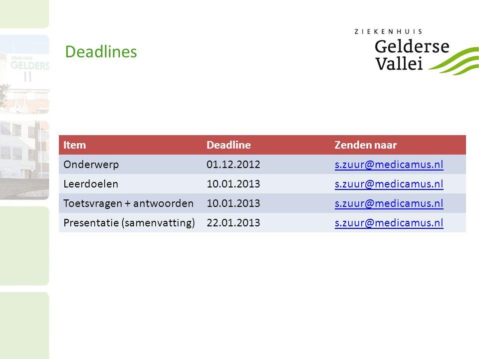 Deadlines ItemDeadlineZenden naar Onderwerp01.12.2012s.zuur@medicamus.nl Leerdoelen10.01.2013s.zuur@medicamus.nl Toetsvragen + antwoorden10.01.2013s.zuur@medicamus.nl Presentatie (samenvatting)22.01.2013s.zuur@medicamus.nl