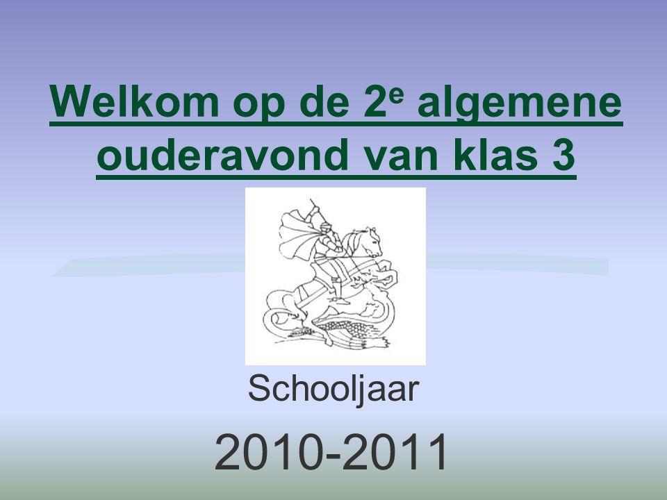 Welkom op de 2 e algemene ouderavond van klas 3 Schooljaar 2010-2011
